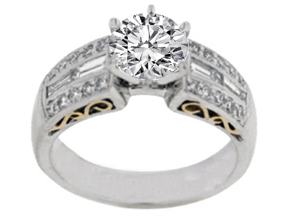 Heirloom Diamond Engagement Ring with Baguettes 0.59 tcw. In 14K White-Yellow Gold