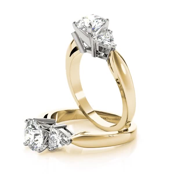 Three Stone Classic Trillion Engagement Ring - 3 x 3mm, Yellow Gold