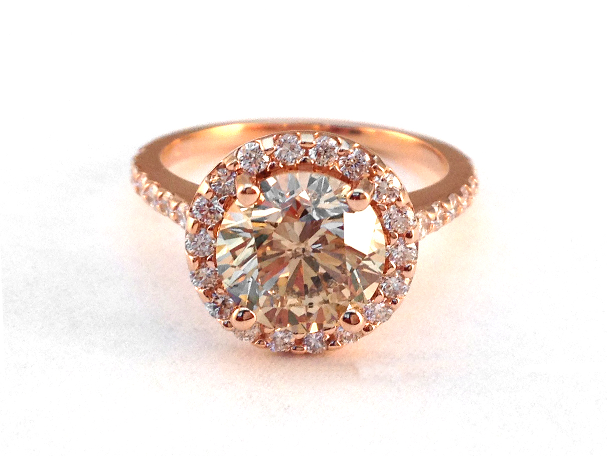 Champagne Diamond Halo Engagement Ring in 14K Rose Gold