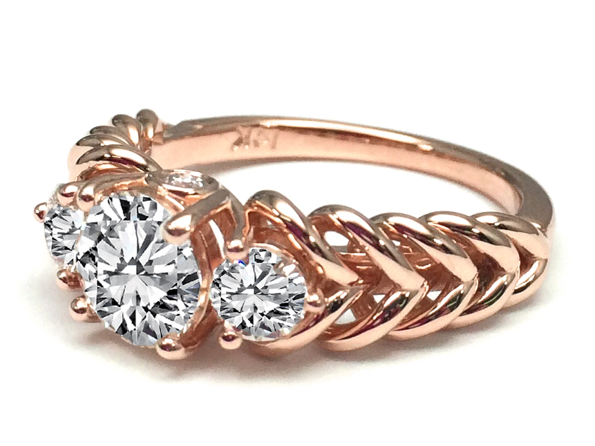 Three Stone Double Helix Diamond Engagement Ring 0.56 tcw. In 14K Rose Gold