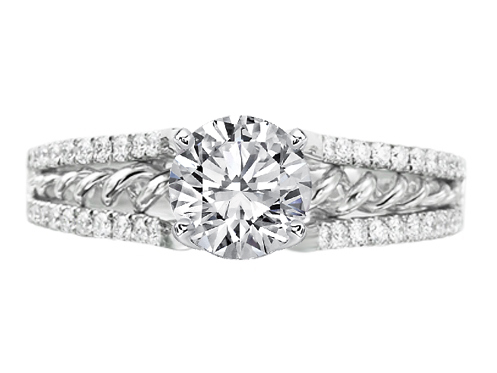 Double Helix Diamond Engagement Ring 0.80 tcw. In 14K White Gold