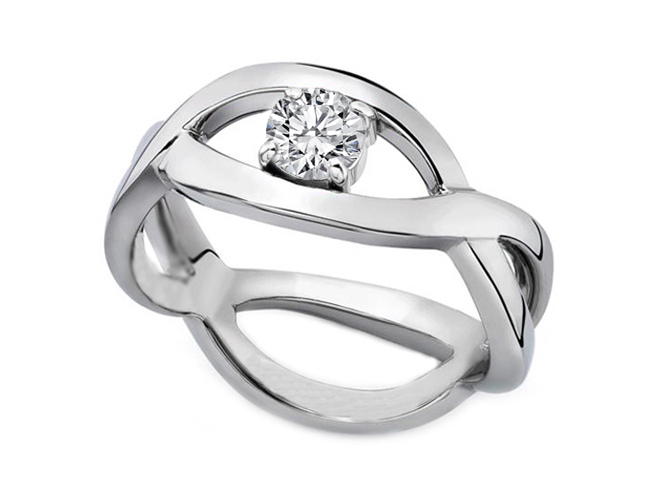 0.75 Carat Solitaire Intertwined Swirl Engagement Ring