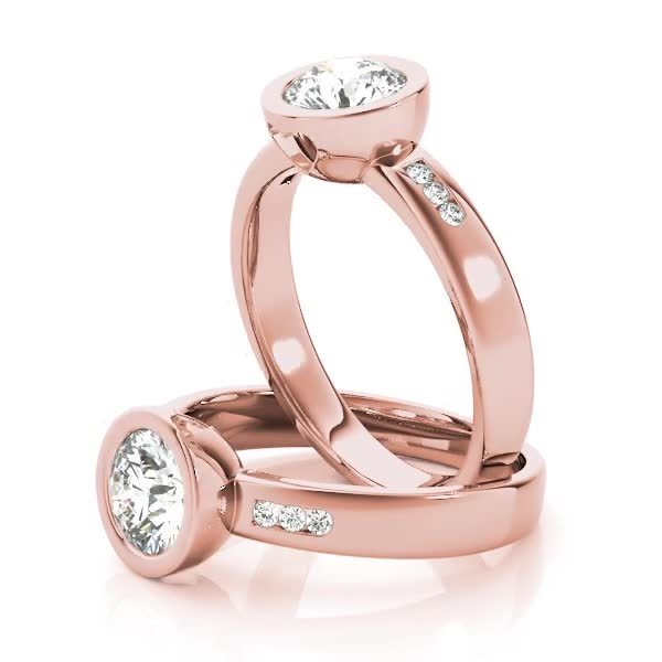 Petite Bezel Diamond Engagement Ring with Filigree in Rose Gold