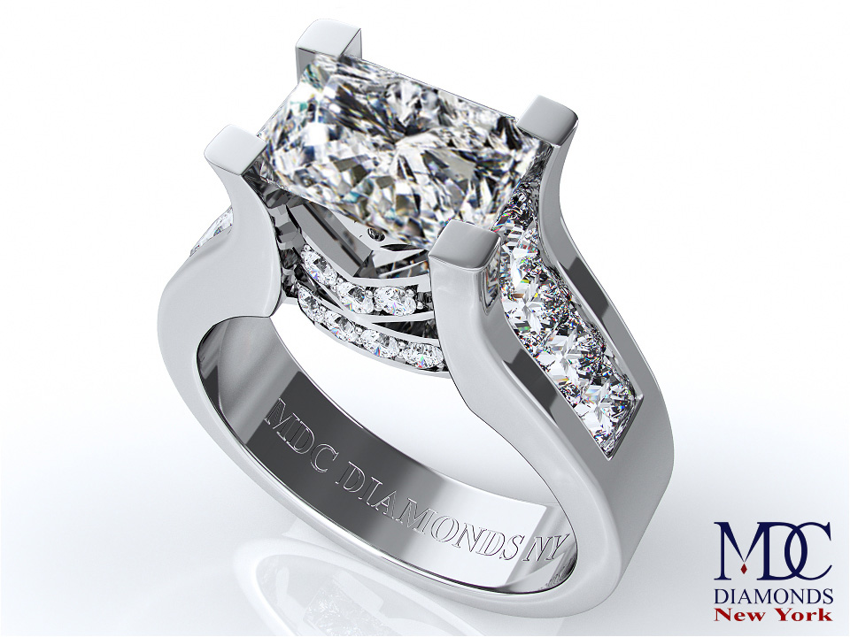 Modern Horizontal Radiant Cut Diamond Engagement Ring