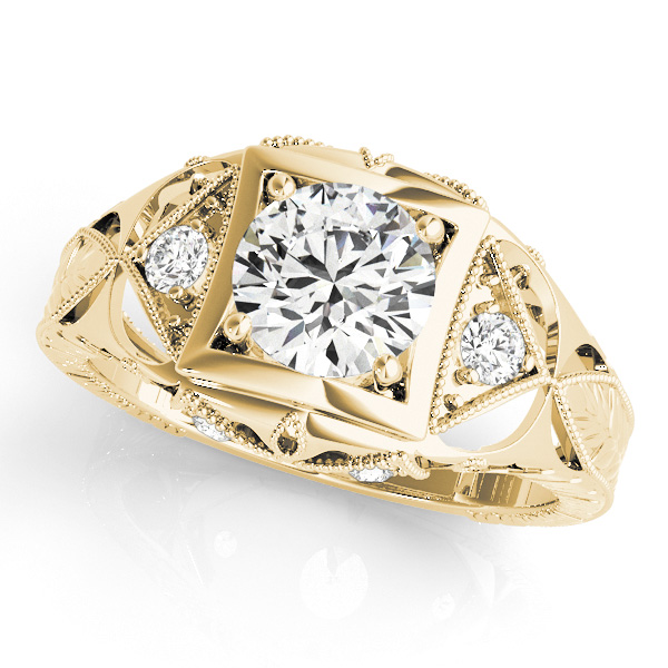 Filigree Diamond Heirloom Engagement Ring in 18K Yellow Gold