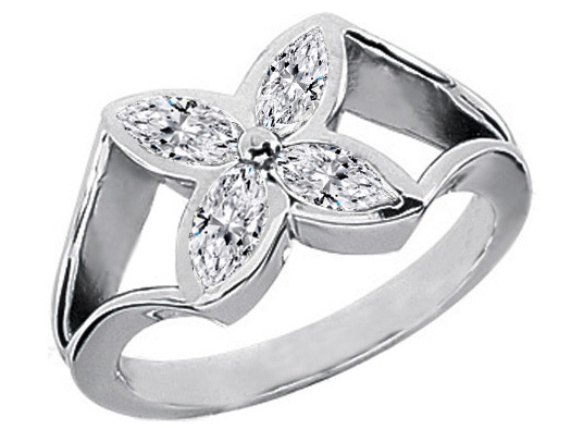 Marquise Diamond Flower Ring, 0.6 Carat