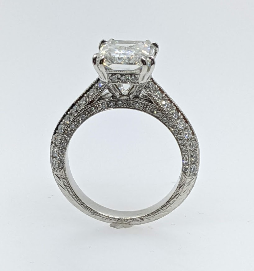Vintage Style Radiant Diamond Cathedral Knife Edge Engagement Ring 0.7 tcw.