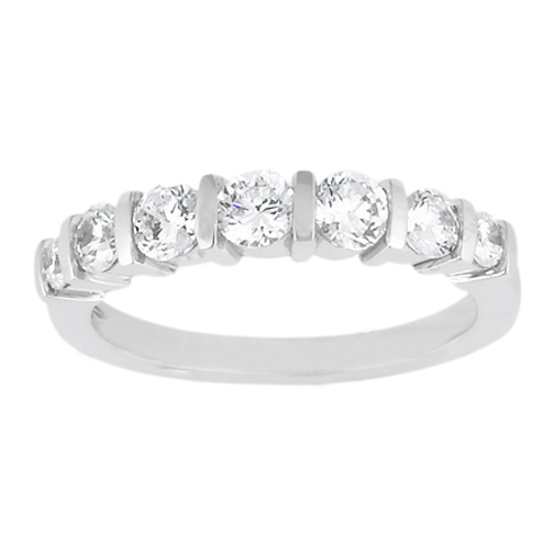 Seven Stone Round Diamond Wedding Band 0.50 tcw. Bar Set In 14K White Gold