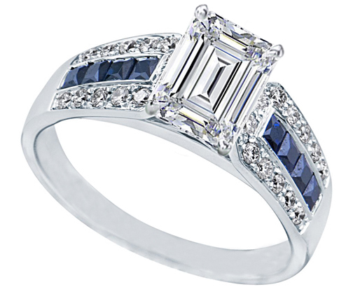Emerald Cut Diamond Vintage Horseshoe Engagement Ring 0.6ctw. In 14K White Gold