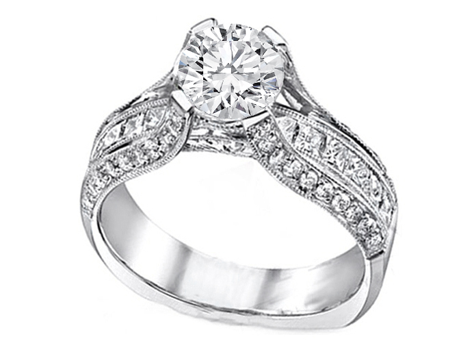 Diamond Bridge Engagement Ring 1.10 tcw.