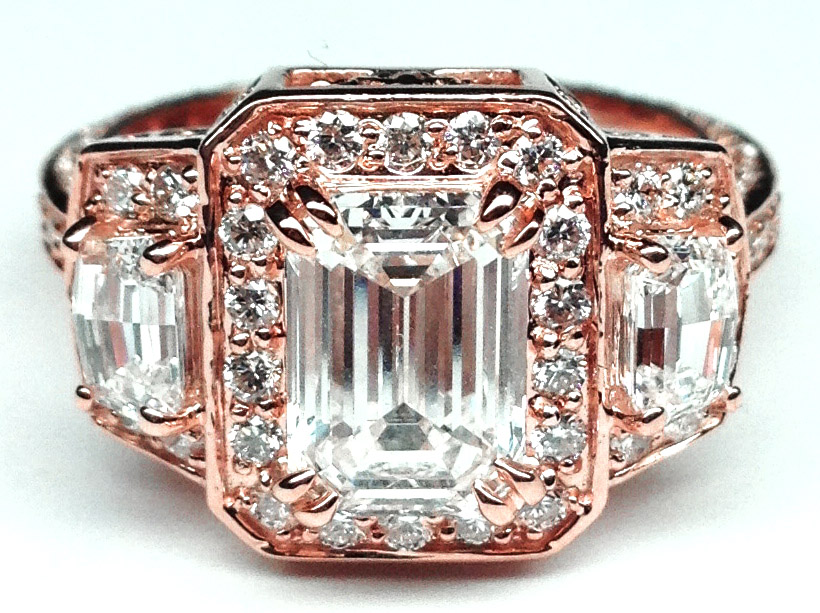 Emerald Diamond Vintage Design Halo Engagement Ring Cadillac trapezoids side stones in Pink Gold
