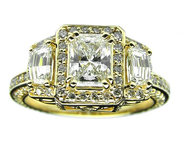 Radiant Diamond Vintage Design Halo Engagement Ring Cadillac trapezoids side stones in 14K yellow Gold