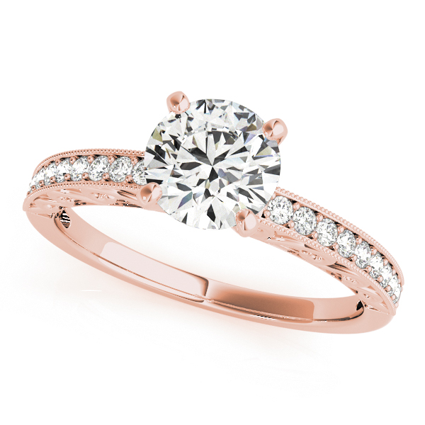 Petite Diamond Engagement Ring with Engraving  in Rose Gold