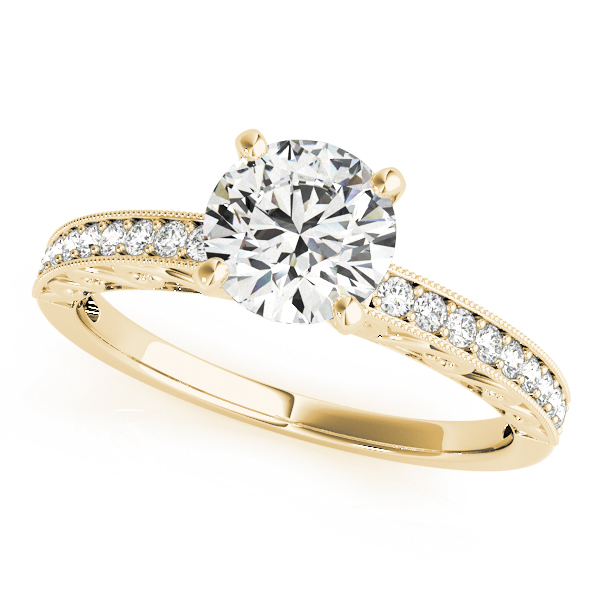 Petite Diamond Engagement Ring with Engraving in Yellow Gold