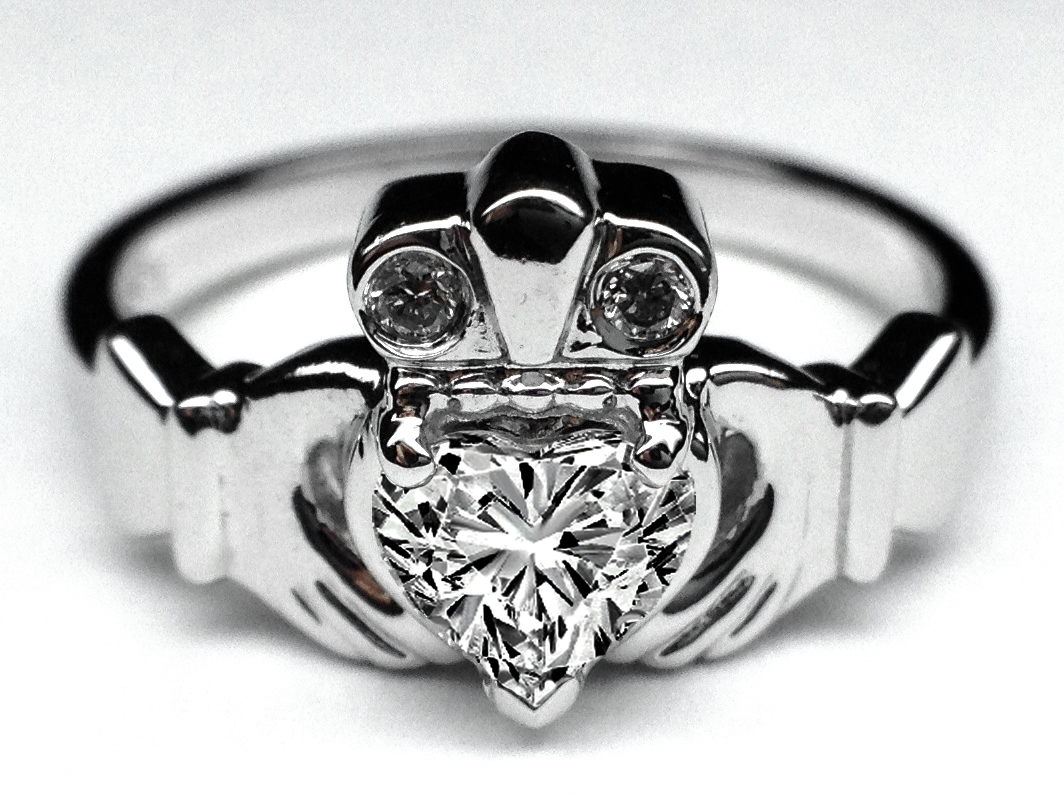 Heart Diamond Claddagh Engagement Ring & Matching Wedding Band in 14K White Gold