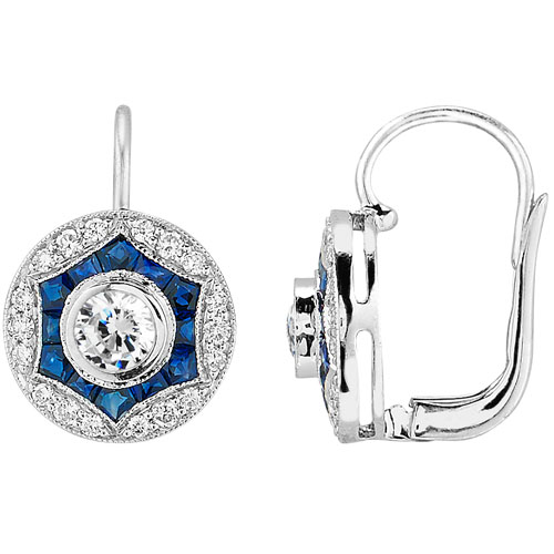 Art Deco Diamond and Blue Sapphire Earrings