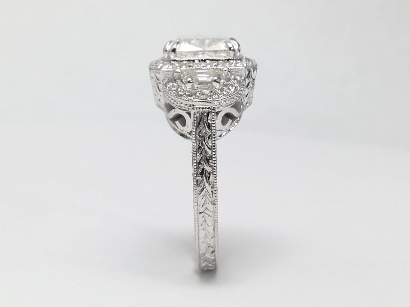 Cushion Diamond Vintage Engagement Ring with Half Moon Diamonds in 14K White Gold