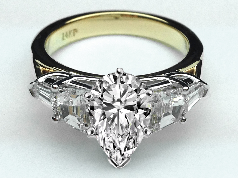 Radiant Diamond Engagement Ring, Cadillac and Bullet Side Stones in 14K White Gold