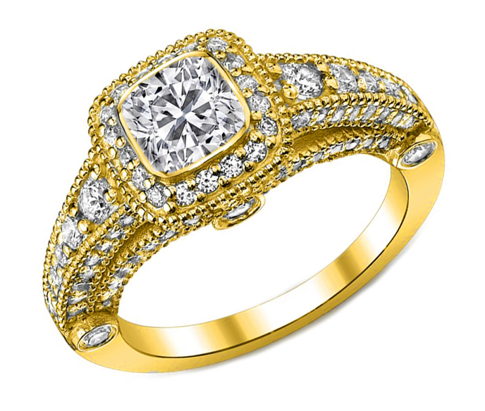 Cushion Diamond Legacy Engagement Ring graduated Pave Halo in 14K Yellow Gold