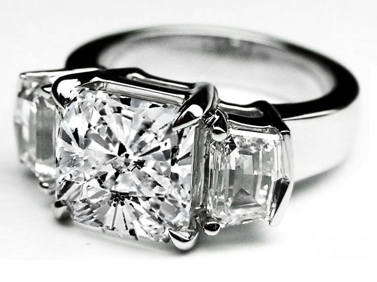Large Cushion Cut Diamond Engagement Ring Cadillac Step cut Side Stones in 14K White Gold