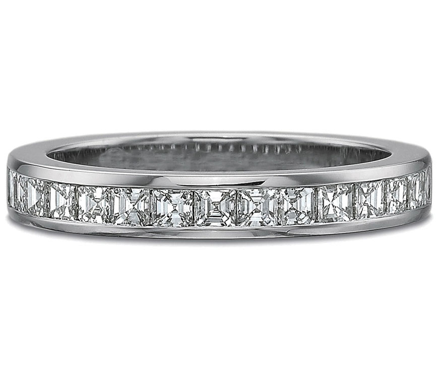 Asscher Diamonds Channel set Wedding ring in 14k White gold, 0.85
