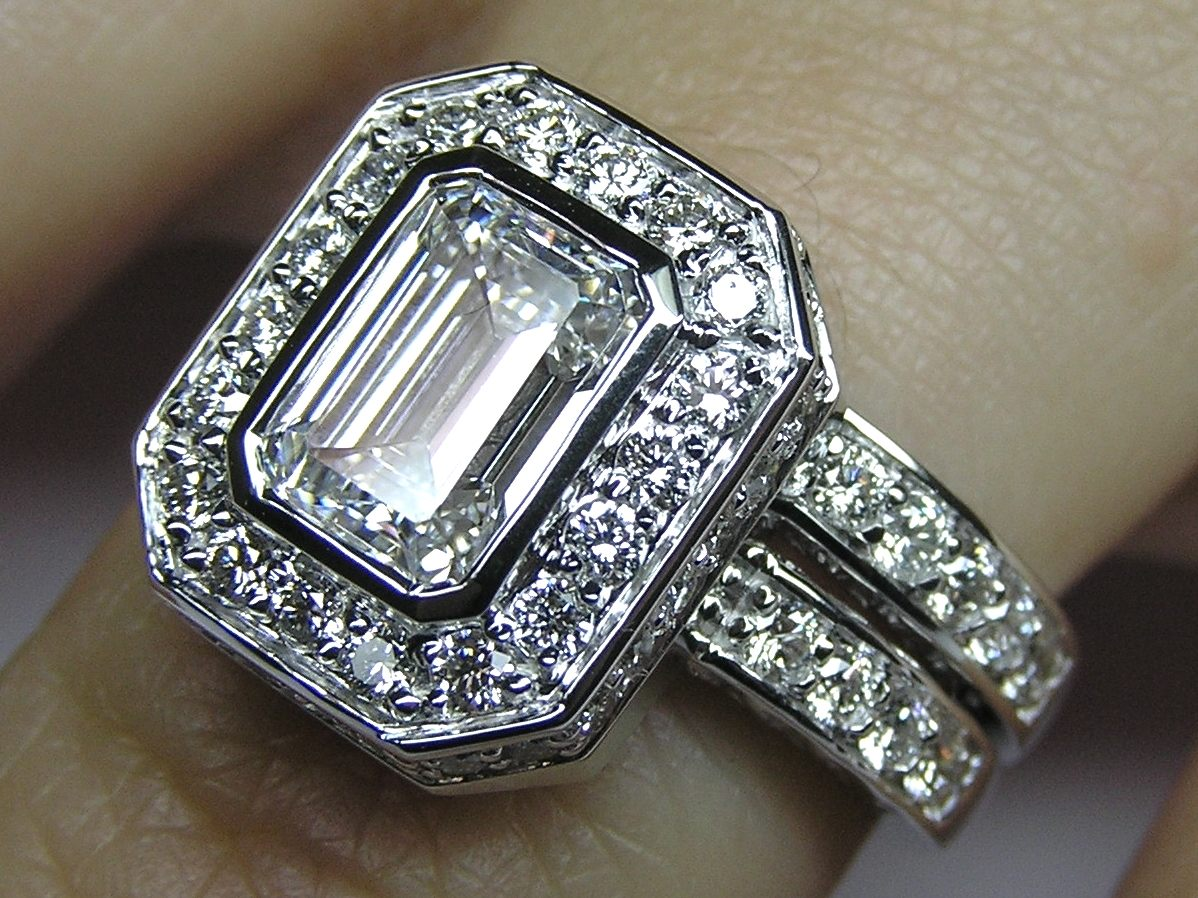 Emerald Cut Diamond Bezel Set Double Halo Bridal Set: Engagement Ring & Wedding Band