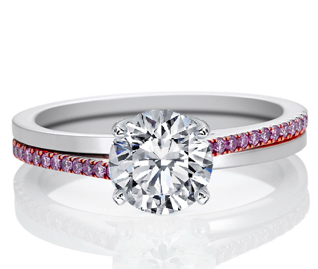 Pink Promise Solitaire Ring Natural Pink Diamond Accents