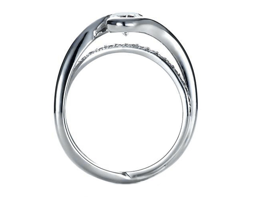 Oval Diamond Twisted Criss-cross Pave Engagement Ring and Interlocking Wedding Band in 14K White Gold