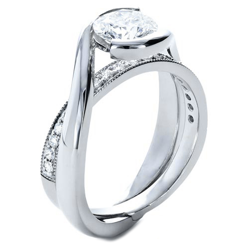 Twisted Criss-cross Pave Diamonds Engagement Ring & Interlocking Wedding Ring in 14K White Gold