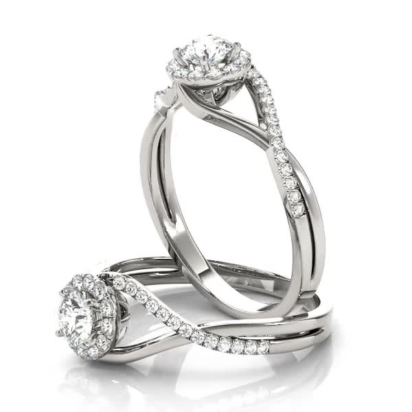Infinity Swirl Halo Diamond Ring