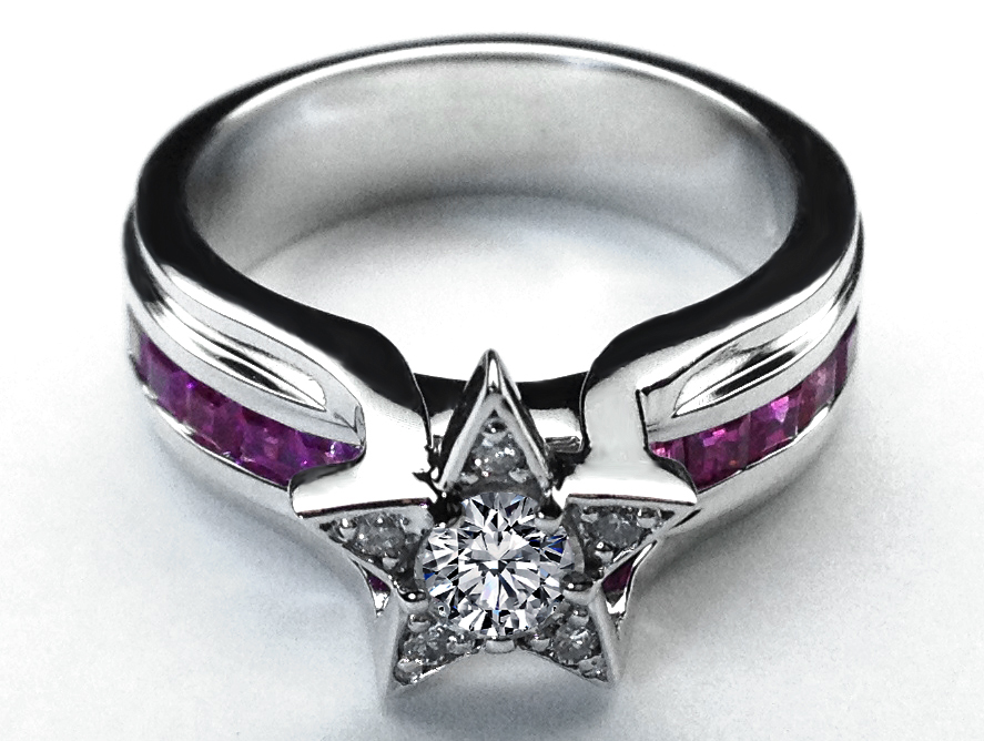 Diamond Star Pink Sapphire Bridge Engagement Ring