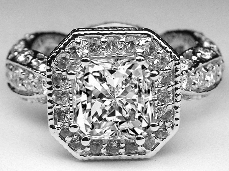 Radiant Diamond Vintage Pave Engagement Ring Halo
