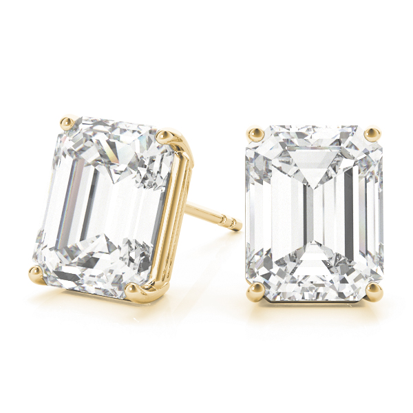 Emerald Diamond Stud Earrings 1.0 Ct. Yellow Gold