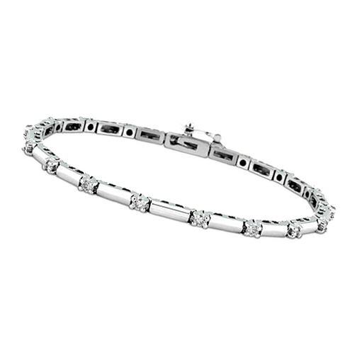 1.9 Carat Round Brilliant Diamond Tennis Bracelet F VS