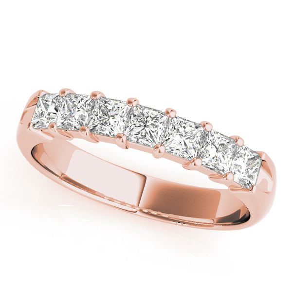 Nine Princess Diamond Wedding Band 1.53 Ct Rose Gold