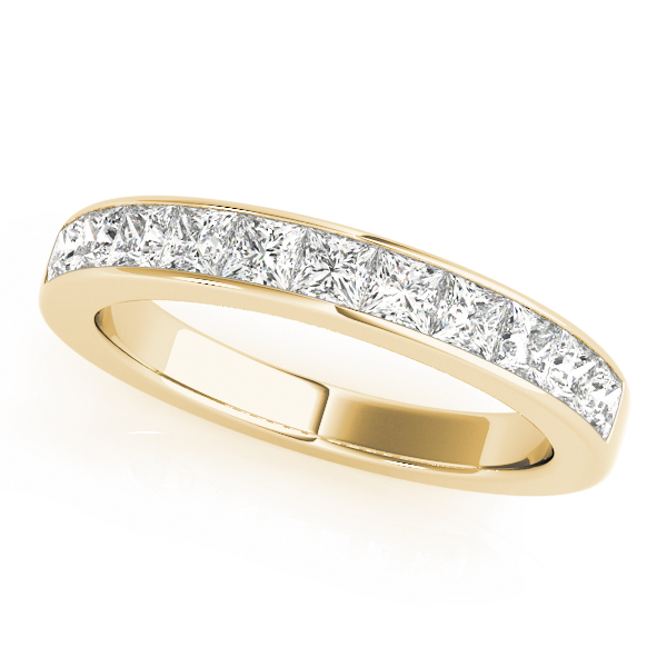 Eight Princess Diamond Channel Wedding Band 2.72 Ct Yellow Gold