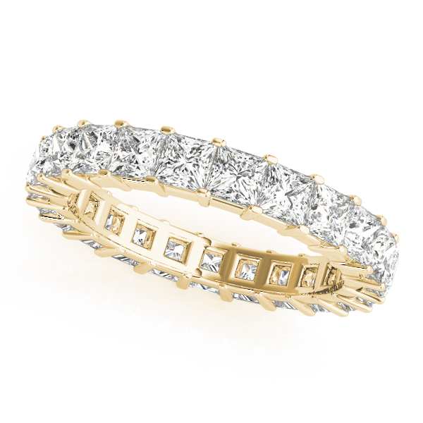 Princess Diamond Eternity Band 4.4 Ct Yellow Gold