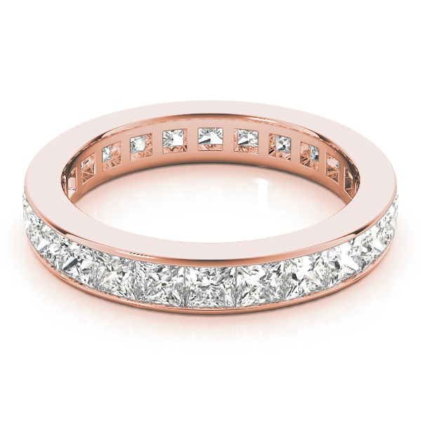 Channel Princess Diamond Eternity Band 4.41 Ct Rose Gold