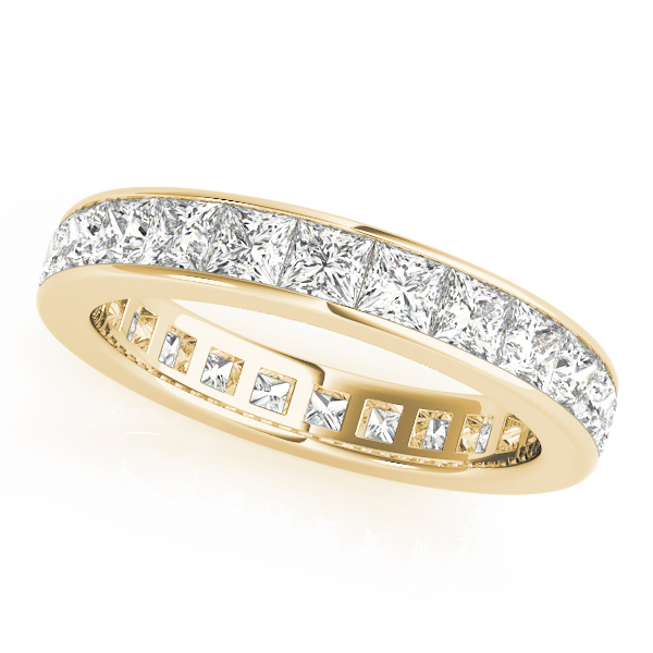 Channel Princess Diamond Eternity Band 1.92 Ct Yellow Gold