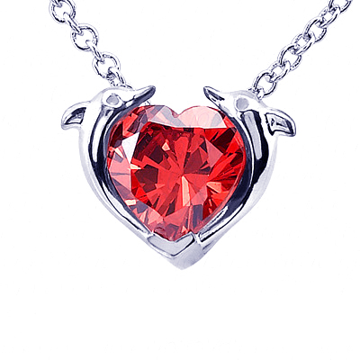 Dolphin Heart Shape Pendant With Garnet In the Center
