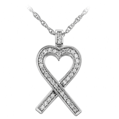 Heart Shape Bow Pendant With Diamond Accents
