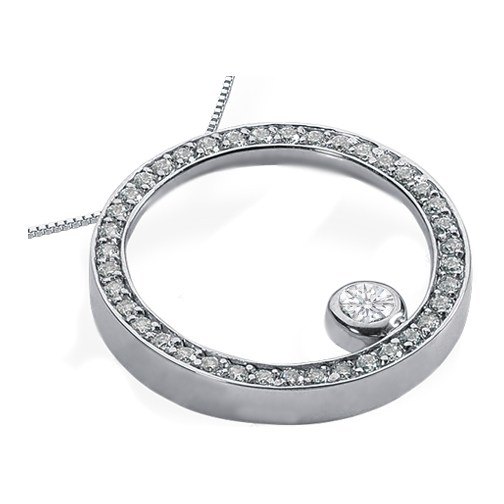 Circle of Love Diamond Pendant 0.93 tcw. In 14 Karat White Gold