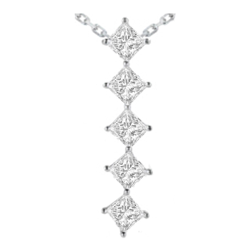 Journey - 5 Diamond Drop Pendant in 14 Karat White Gold (3.75 tcw.)