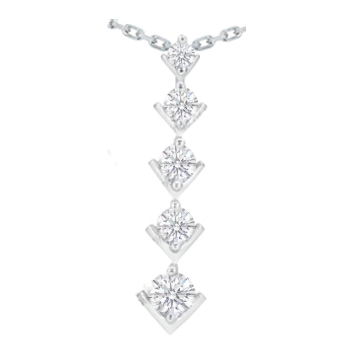 Modern Journey - 5 Diamond Drop Pendant 14 Karat White Gold (2.00 tcw.)
