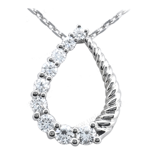 Journey Round Diamond Necklace Pendant 1.50 tcw. In 14 Karat White Gold