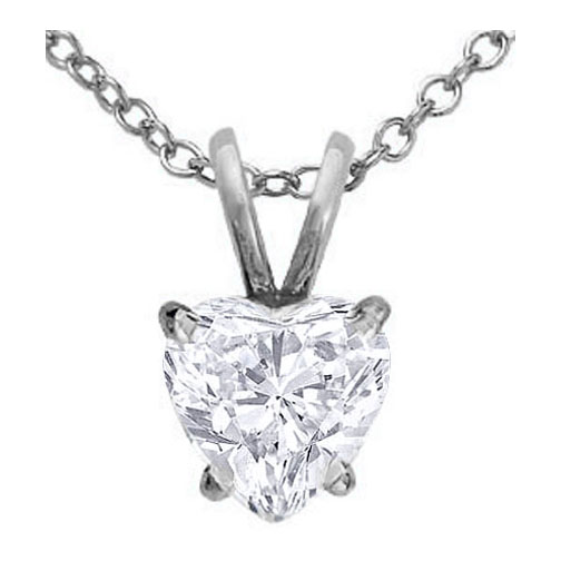 Heart Shape Diamond Pendant Necklace 0.70 Carat in 14 Karat White Gold