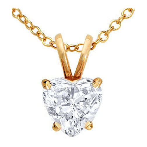 Heart Shape Diamond Pendant Necklace 0.70 Carat in 14 Karat Yellow Gold