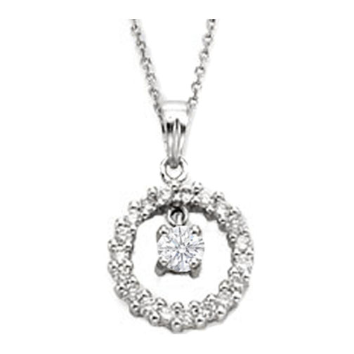 Circle of Love Diamond Pendant Center Stone 0.45 tcw. In 14 Karat White Gold