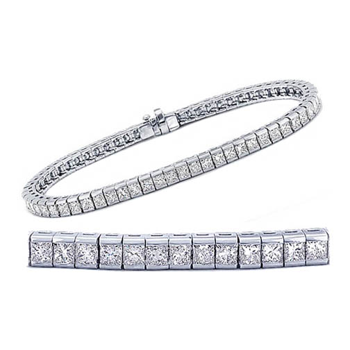 Seven (7.02) Carat Princess Cut Diamond Bracelet F-G VS