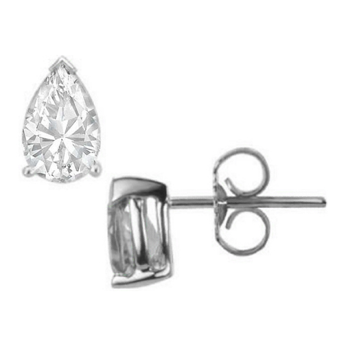 One Of A Kind Pear Shaped Diamond Stud Earrings 1.60 tcw. D IF in 14 Karat White Gold
